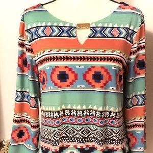 Sunny Leigh Aztec Tunic Top 3/4 Bell Sleeves Sz L